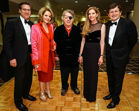 René Ancinas, Renée Fleming, Dale Chihuly, Leslie Jackson Chihuly and Charles Simonyi at the Opening Night Gala in September 2017. (Photo: Alan Alabastro)
